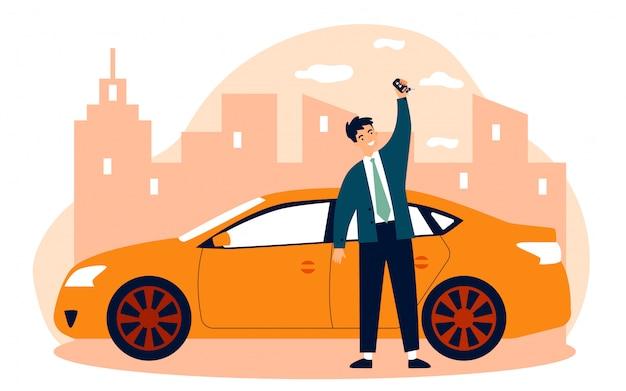 Szczęśliwy młody człowiek leasinguje samochodową płaską wektorową ilustrację