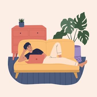 Szczęśliwy młody człowiek niezależny leży na ilustracji sofa