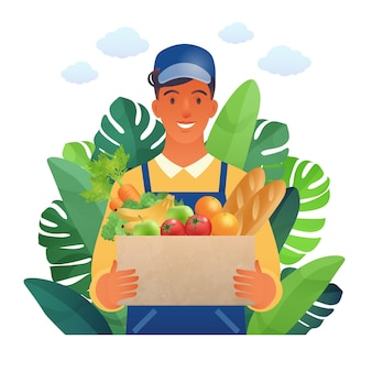 Szczęśliwy młody człowiek niosący artykuły spożywcze pracują w płaskiej kreskówce rynku rolników