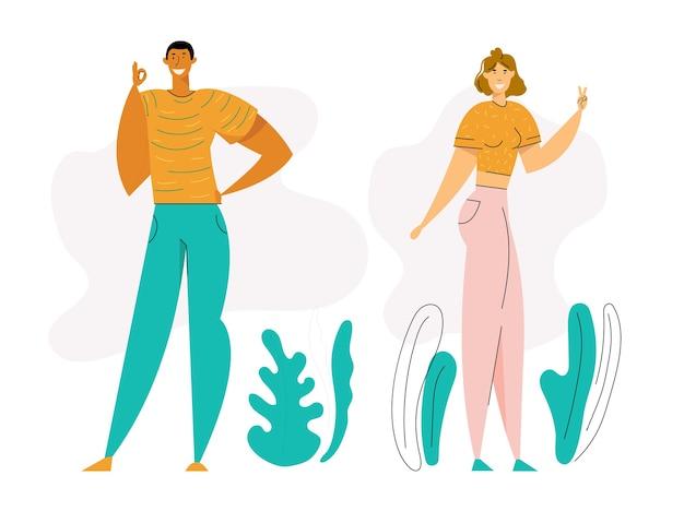 Szczęśliwy młody człowiek pokazuje ok gest. dziewczyna gestykuluje znak zwycięstwa palcami. postacie męskie i żeńskie z pozytywnym wyrazem twarzy.