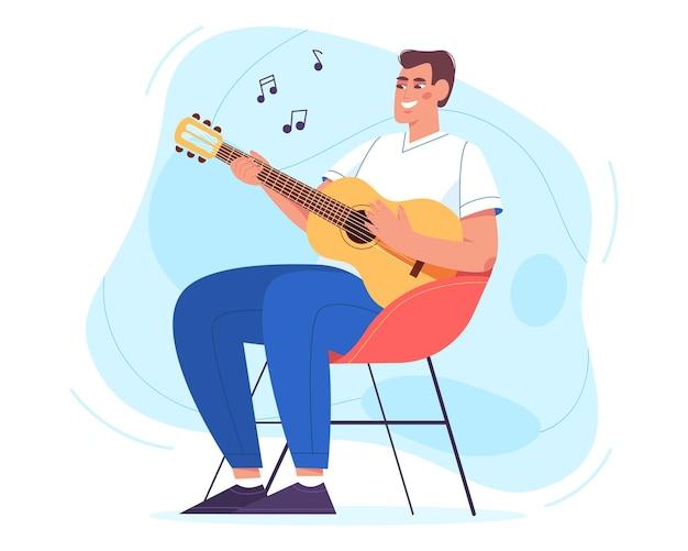 Szczęśliwy młody człowiek siedzi w fotelu i gra na gitarze. hobby i relaksujący weekend w domu ilustracji wektorowych w stylu płaski. lekcje akustyczne. radosny facet trzyma instrument muzyczny i śpiewa piosenki.