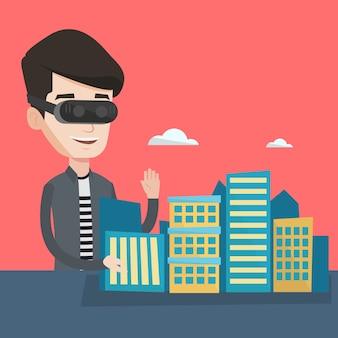 Szczęśliwy młody człowiek sobie słuchawki wirtualnej rzeczywistości.