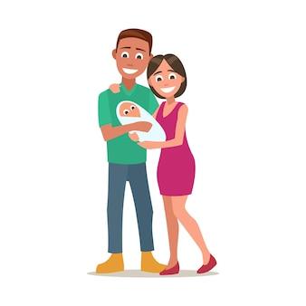 Szczęśliwy młody rodzic trzymający noworodka. kolor płaski wektor ilustracja na białym tle.