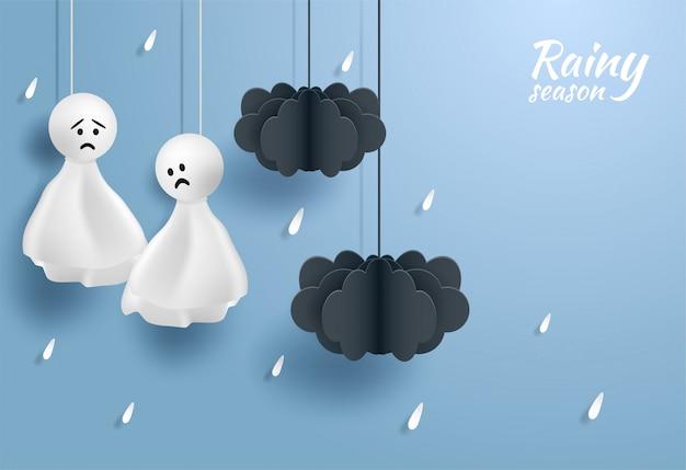 Szczęśliwy monsun, pora deszczowa tło