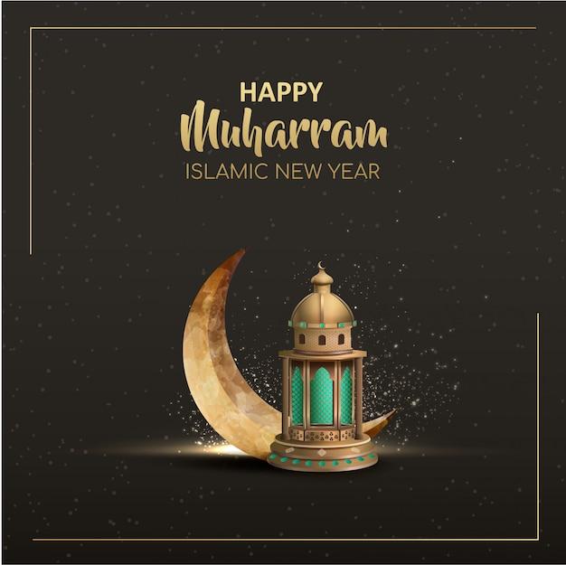 Szczęśliwy muharram islamski nowy rok projekt karty ze złotą latarnią i półksiężycem
