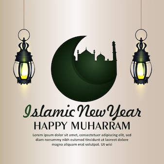 Szczęśliwy muharram islamski nowy rok z życzeniami z islamską latarnią