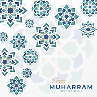 Szczęśliwy muharram media społecznościowe premium szablon z mandalą