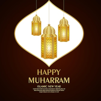 Szczęśliwy muharram tło obchodów islamskiego nowego roku
