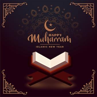 Szczęśliwy muharram ze świętą księgą koranu