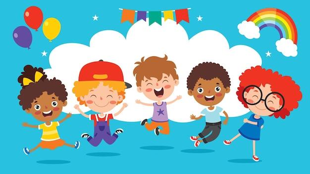 Szczęśliwy multi etnicznych dzieci bawiące się razem
