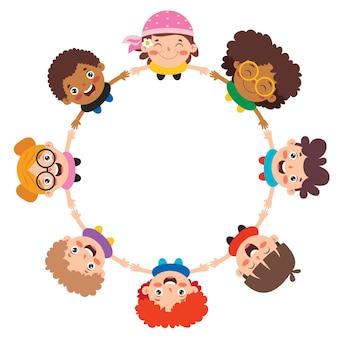 Szczęśliwy Multi Etnicznych Dzieci Bawiące Się Razem Premium Wektorów