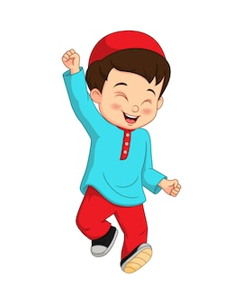 Szczęśliwy muzułmański chłopiec kreskówka na białym tle