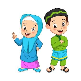 Szczęśliwy muzułmański dzieciak kreskówka na białym tle
