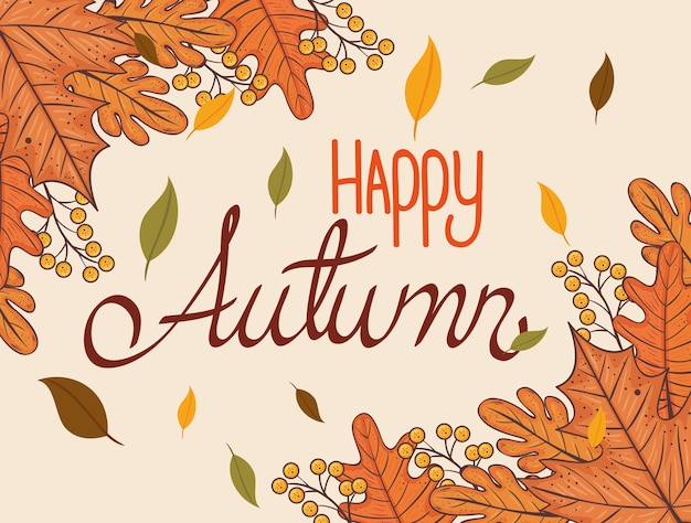 Szczęśliwy napis dziękczynienia karta z jesiennych liści ilustracja projekt