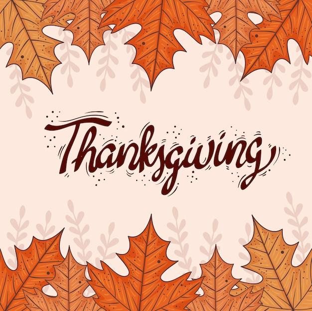 Szczęśliwy napis dziękczynienia karta z jesiennymi liśćmi projekt ilustracji ramki