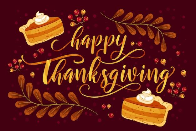 Szczęśliwy napis dziękczynienia z ciastem