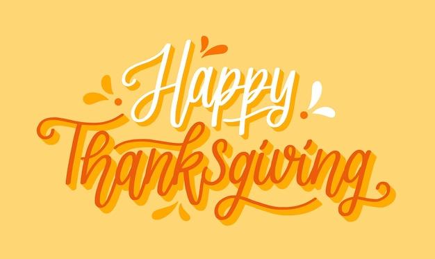 Szczęśliwy Napis Dziękczynienia Premium Wektorów