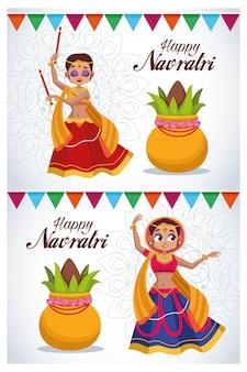 Szczęśliwy napis karty celebracja navratri z tańczącymi dziewczynami