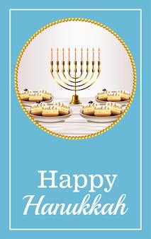 Szczęśliwy napis obchodów chanuka ze złotym żyrandolem i słodkimi pączkami