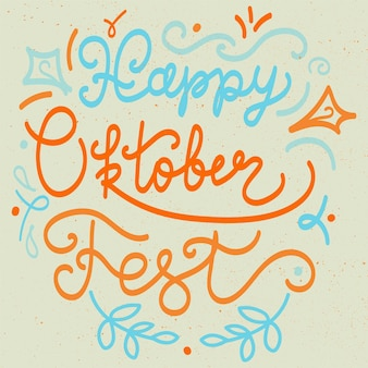 Szczęśliwy napis oktoberfest na naklejce, druk. baner festiwalu piwa. wektor