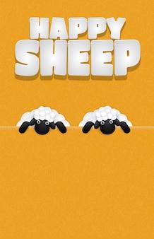 Szczęśliwy napis owiec z owiec cute kreskówek