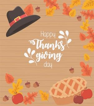 Szczęśliwy napis święto dziękczynienia ciasto i kapelusz napis z liści