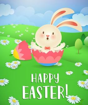 Szczęśliwy napis wielkanoc, króliczek wylęgający się z jajka i krajobrazu