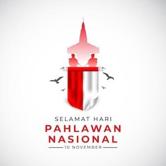 Szczęśliwy narodowy dzień weteranów szablon transparent machający flagą indonezji