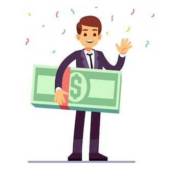 Szczęśliwy nastolatka zwycięzca trzyma pieniądze dolarów nagrodę. loteria, powodzenia i kasyno hazard wektor koncepcja