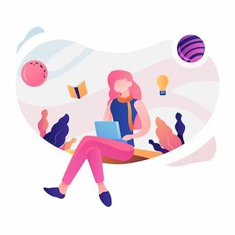 Szczęśliwy nauczyciela dzień, dziewczyny uczenie, ilustracja w gradientowej kolor wektorowej grafice