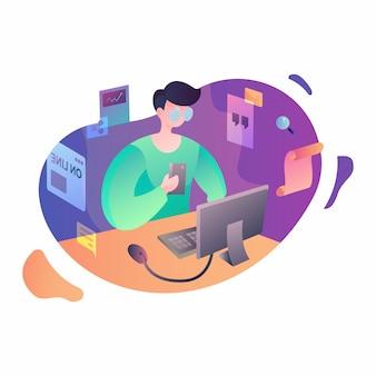 Szczęśliwy nauczyciela dzień, mężczyzna uczenie, ilustracja w gradientowej kolor wektorowej grafice