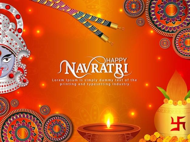 Szczęśliwy navratri indyjski festiwal religijny karta obchodów