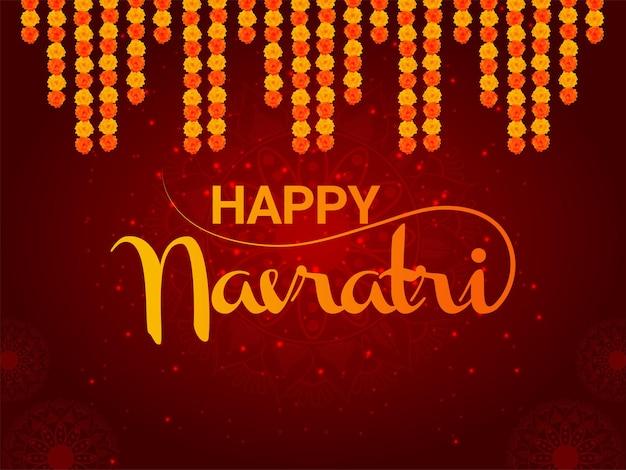 Szczęśliwy navratri indyjski festiwal religijny z życzeniami