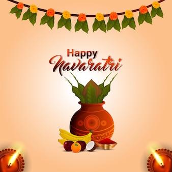Szczęśliwy navratri tradycyjny festiwal w indiach z kreatywnym wektorowym kalaszem i kwiatem girlandy