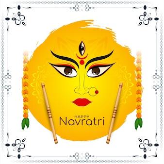 Szczęśliwy navratri tradycyjny indyjski festiwal pozdrowienie tło wektor