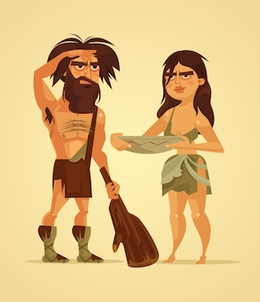 Szczęśliwy neandertalczyk ilustracja kreskówka para mężczyzna i kobieta
