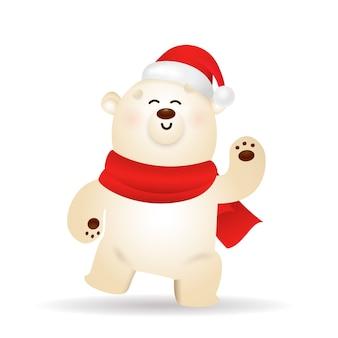 Szczęśliwy niedźwiedź polarny świętuje boże narodzenie