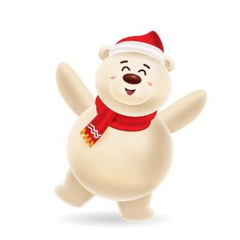 Szczęśliwy niedźwiedź polarny, taniec z czerwoną czapką i czerwonym szalikiem