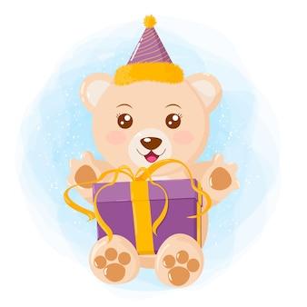 Szczęśliwy niedźwiedź świętuje