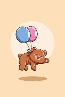 Szczęśliwy niedźwiedź z balonową ilustracją kreskówki zwierząt