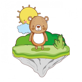 Szczęśliwy niedźwiedź zwierzę na wyspie float