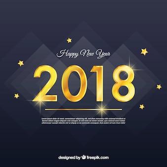 Szczęśliwy nowego roku 2018 tło z złotymi cyframi