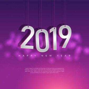 Szczęśliwy nowego roku 2019 projekt z bokeh tłem