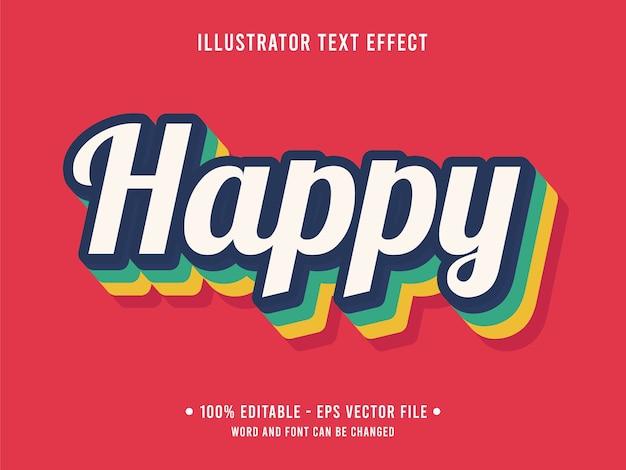 Szczęśliwy nowoczesny styl edytowalnego efektu tekstu