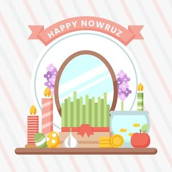 Szczęśliwy nowruz ilustracja z kiełkami i lustrem