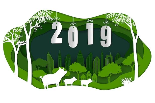 Szczęśliwy nowy rok 2019 z śliczną rodzinną świnią