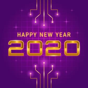 Szczęśliwy nowy rok z złotym tekstem w futurystycznym stylowym wektorze