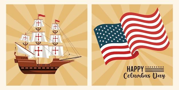 Szczęśliwy obchody dnia kolumba z flagą usa i statkiem.