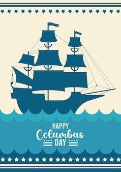 Szczęśliwy obchody dnia kolumba ze statkiem i napisem.