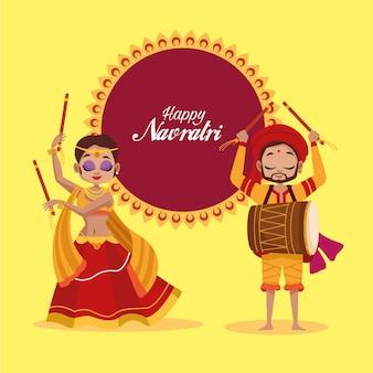 Szczęśliwy obchody navratri z tańczącą kobietą i mężczyzną grającym na bębnie